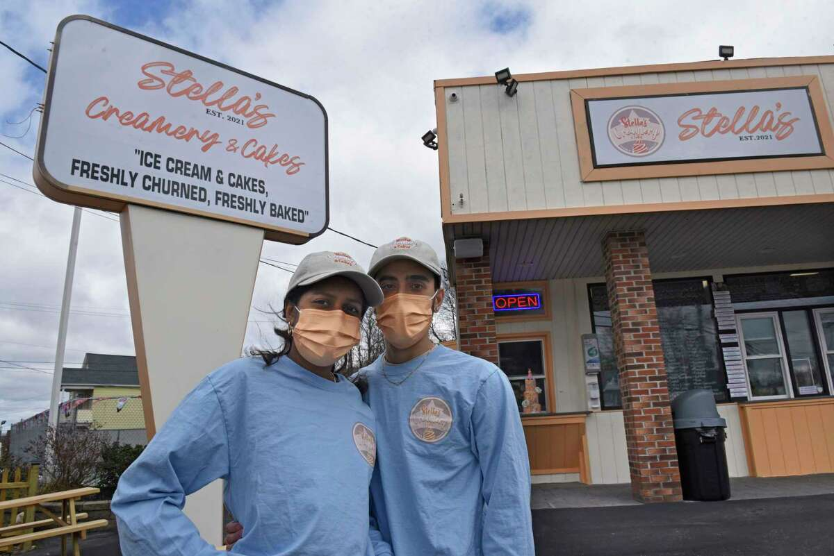 New owners Ashley and Gabe Viscariello stand outside Stella's Creamery and Cakes formerly known as Bumpy's on Monday, March 29, 2021 in Schenectady, N.Y. The Viscariellos named the business after their daughter. (Lori Van Buren/Times Union)