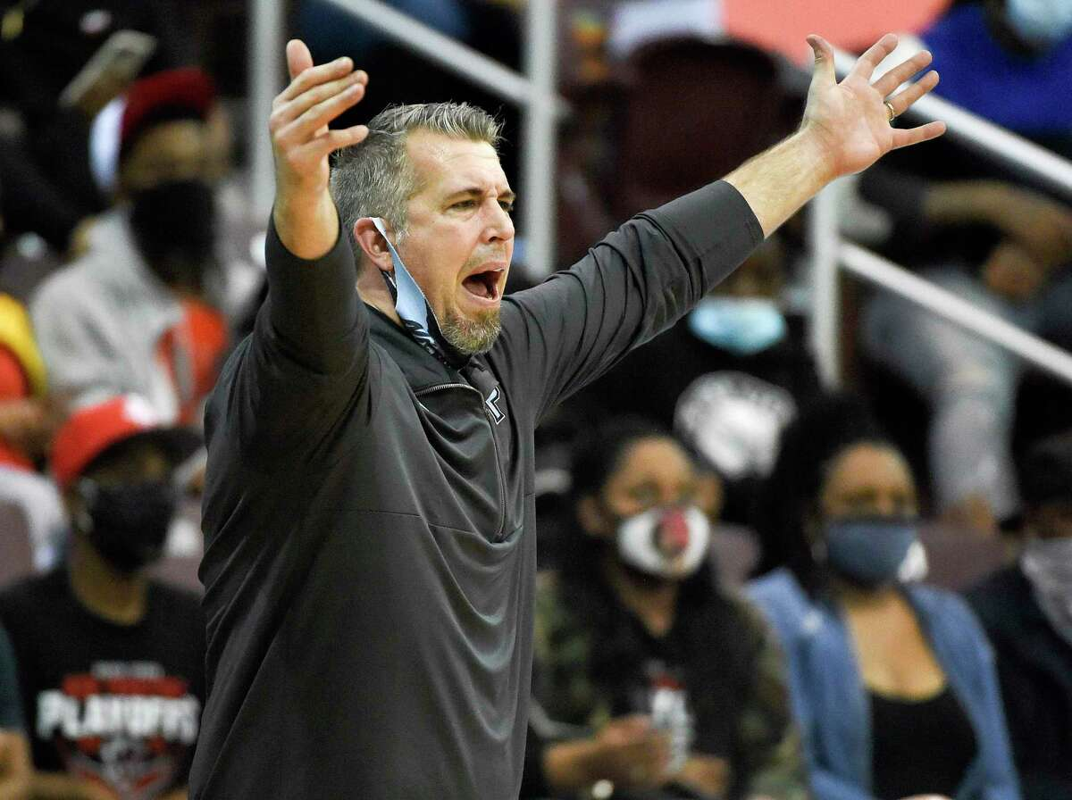 Paetow head coach Michael Niemi yells from the sideline during the second half of a 5A Region III semifinal high school basketball playoff game against Goose Creek Memorial, Tuesday, March 2, 2021, in Houston.