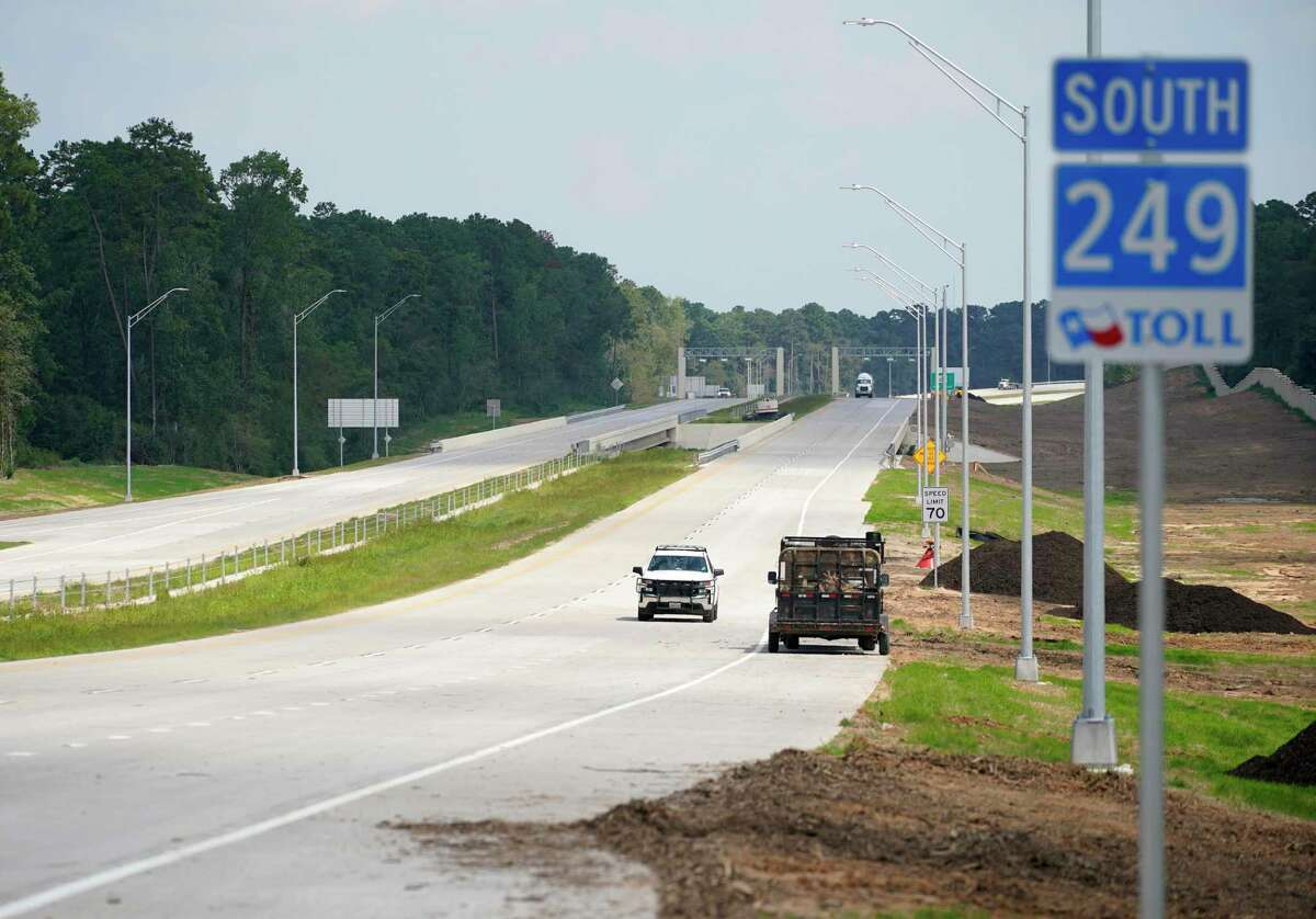 Workers travel southbound on the 249 Tollway in Montgomery County as opening day looms on Aug. 6, 2020. The section north of Tomball to FM 1488 opened in August, and the segment to FM 1774 north of Todd Mission opened Friday.