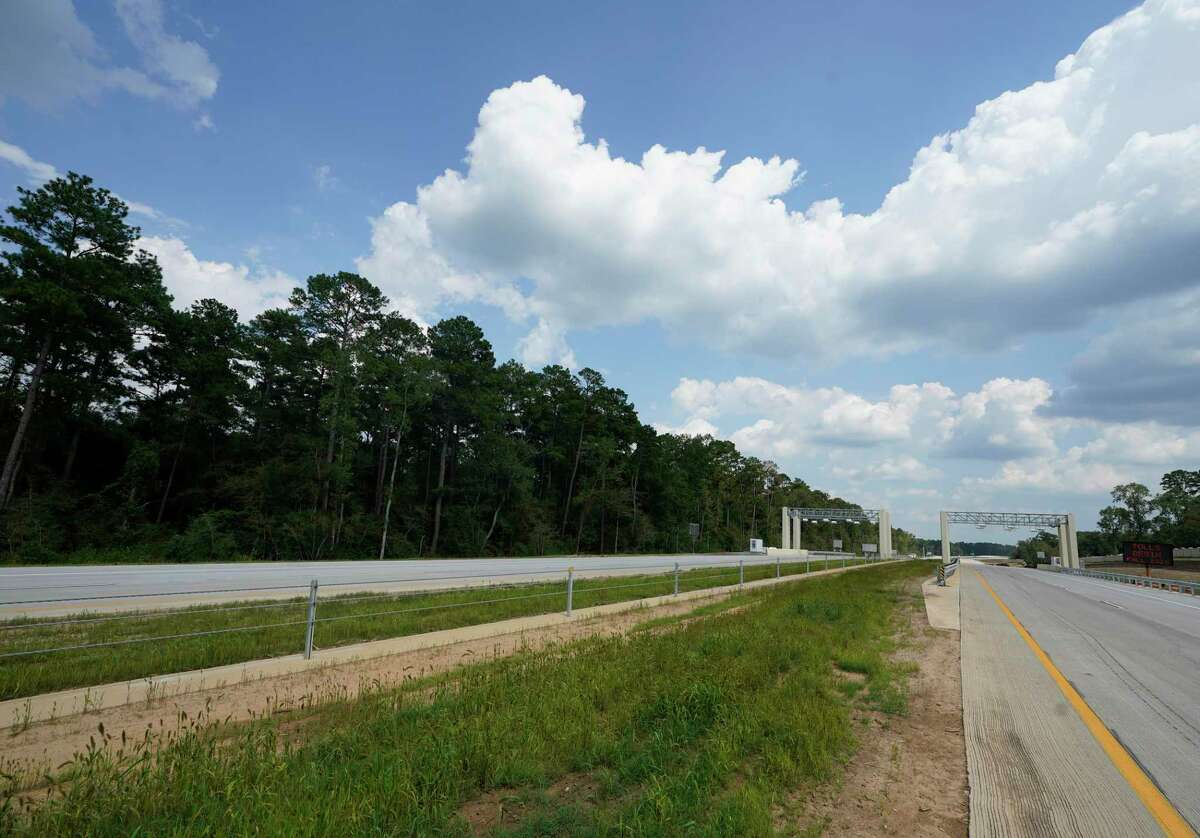 A new toll gantry sit along the 249 Tollway in Montgomery County hours before the road opened on Aug. 6, 2020. The section north of Tomball to FM 1488 opened in August, and the segment to FM 1774 north of Todd Mission opened Friday.