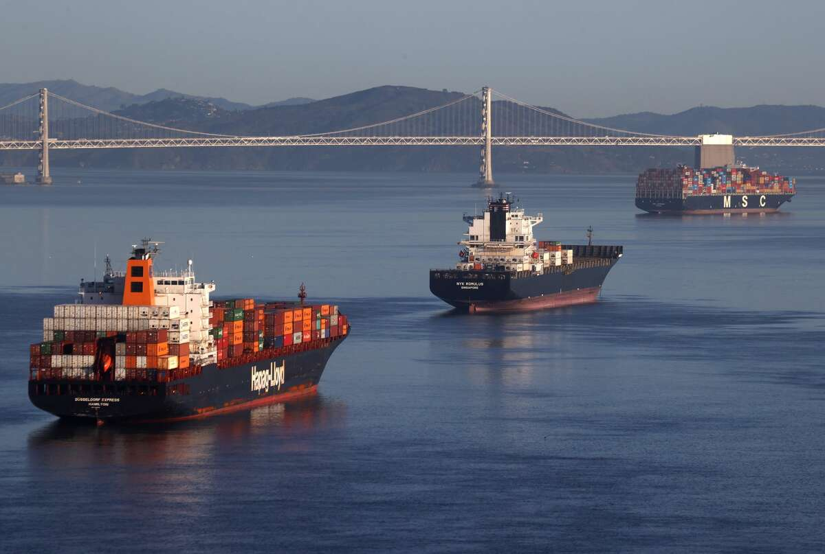 Container ships sit idle in the the San Francisco Bay just outside of the Port of Oakland on March 26, 2021, in San Francisco. As the global pandemic has fueled online shopping and international shipping to fulfill orders, demand has fueled log jams at ports around the globe.