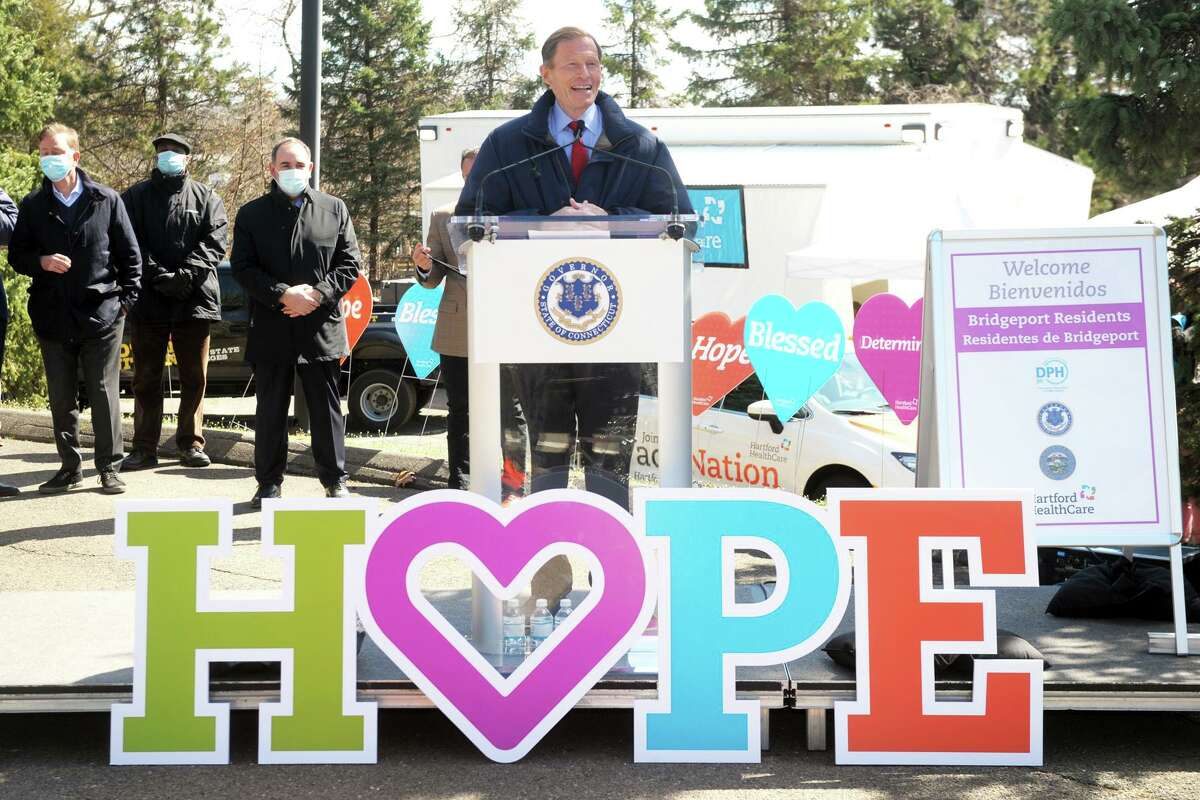 U.S. Sen. Richard Blumenthal speaks at a news conference at Connecticut's Beardsley Zoo, in Bridgeport, Conn. March 29, 2021. Blumenthal joined others to announce the deployment of FEMA's new COVID-19 mobile vaccination unit, which is set up and running this week in the zoo's parking lot.