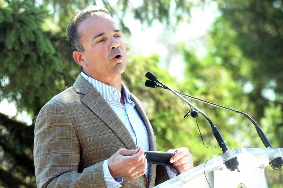 Mayor Joe Ganim speaks at a news conference at Connecticut's Beardsley Zoo, in Bridgeport, Conn. March 29, 2021.