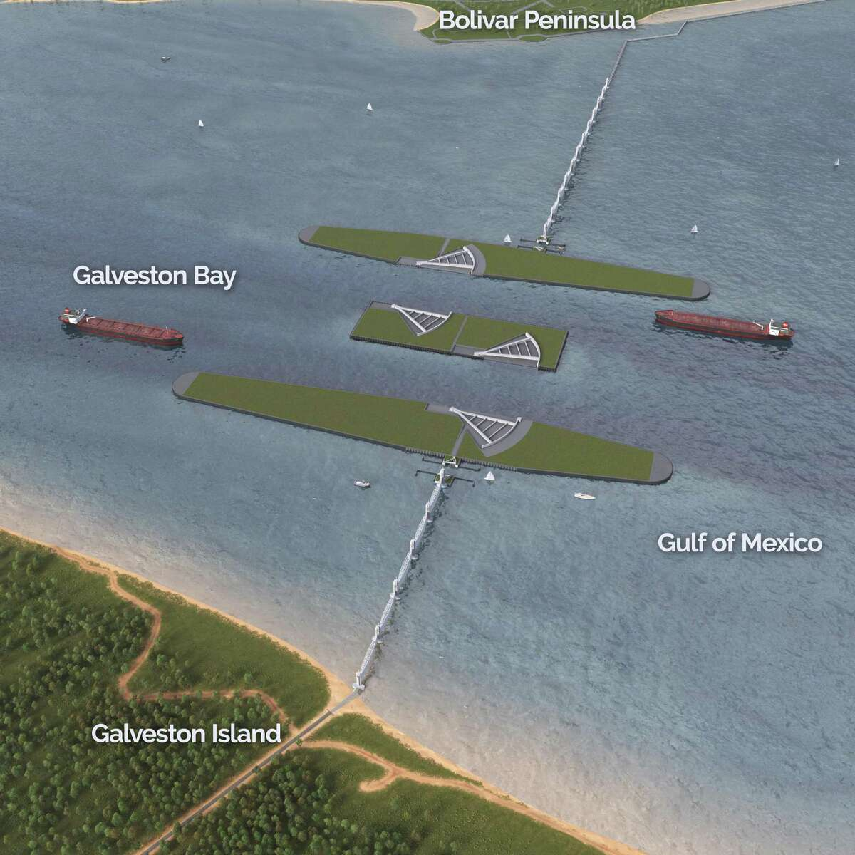 An aerial view of navigation gates at the mouth of Galveston Bay, proposed by the U.S. Army Corps of Engineers as part of the coastal barrier system for southeast Texas.