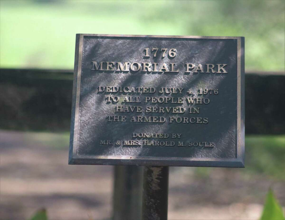 The plaque that visitors can find at the city's 1776 Memorial Park.