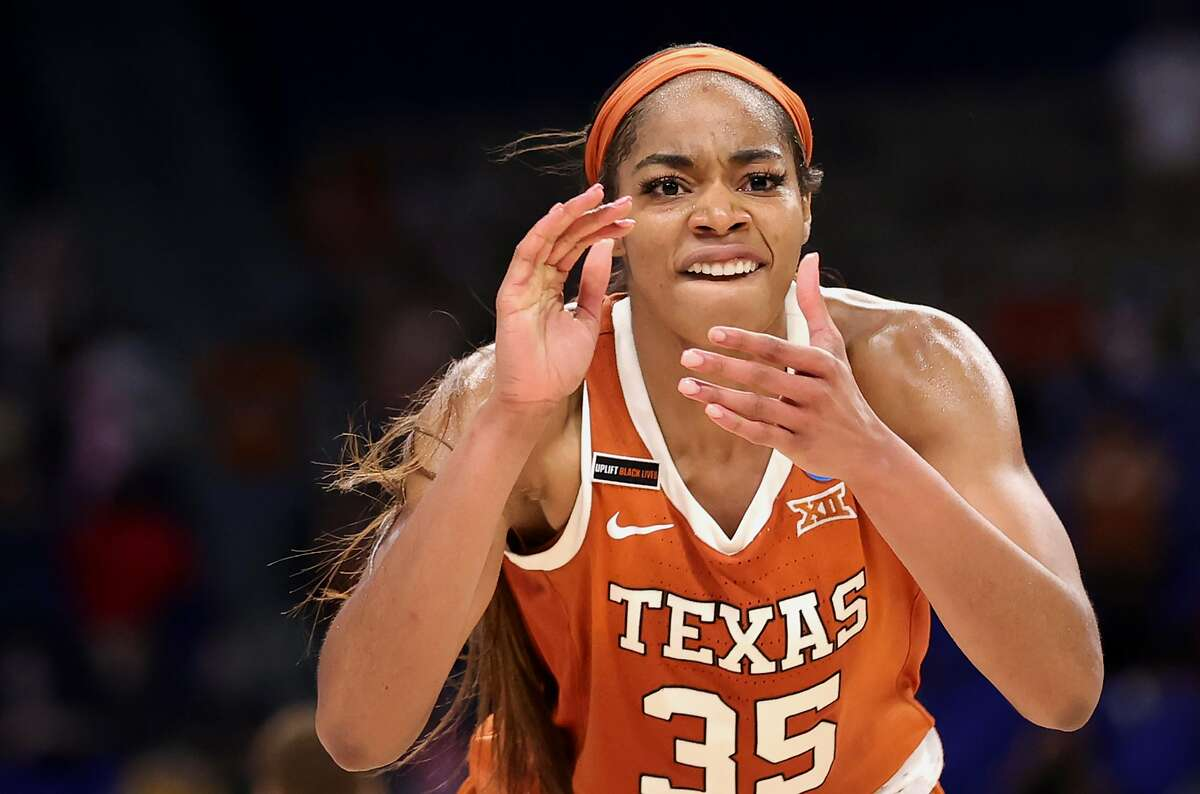 SAN ANTONIO, TEXAS - MARCH 28: Charli Collier #35 of the Texas Longhorns reacts during the second half against the Maryland Terrapins in the Sweet Sixteen round of the NCAA Women's Basketball Tournament at the Alamodome on March 28, 2021 in San Antonio, Texas. (Photo by Carmen Mandato/Getty Images)