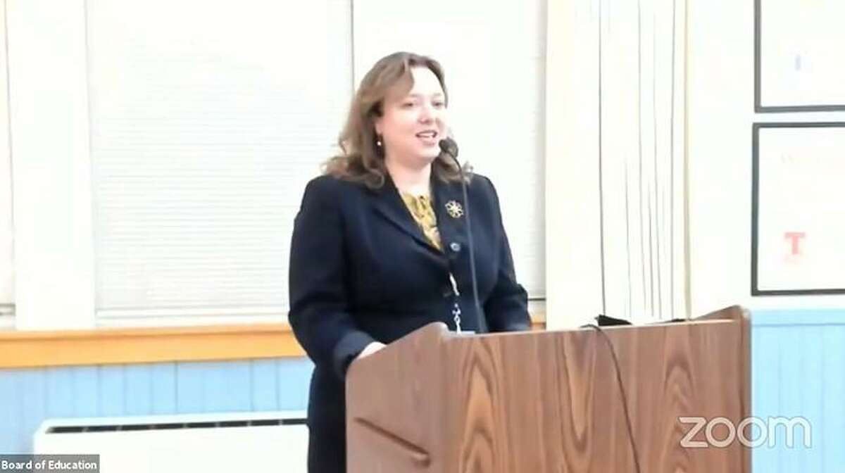 Assistant Superintendent Susan Iwanicki speaks to the Board of Education at its March 23, 2021 meeting.