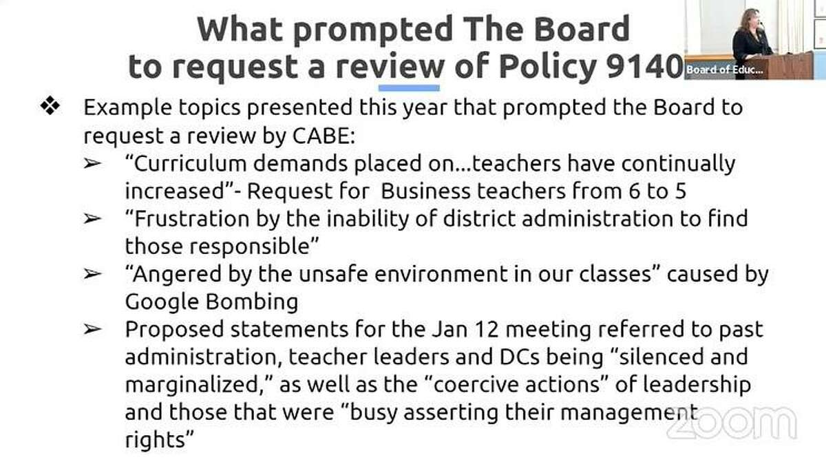 Assistant Superintendent Susan Iwanicki explains to comments made by the teacher representative that led the board of consider rescinding Policy 9140.