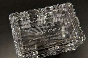 Award from the New York Association of Treatment Court Professionals given to Troy drug court coordinator Donna Hazard for her work during the pandemic on Monday, March 29, 2021, in Troy, N.Y.  (Will Waldron/Times Union)