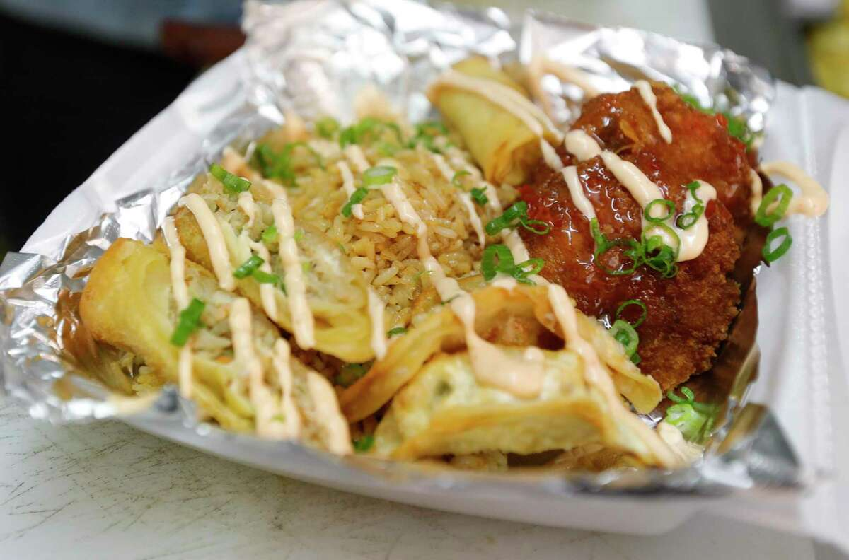 A sampler order is seen at Taste The Asian food truck, Friday, March 26, 2021, in Conroe.