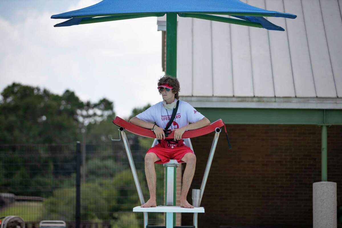 The search is on for lifeguards for the 2021 pool season, too, which was a challenging area of the 2020 pool season. The onset of the COVID-19 pandemic left township officials unable to host required lifeguard training and testing because of restrictions. Here, in 2020, township lifeguard Kirk Tucker, watches swimmers at Alden Bridge Pool in The Woodlands, Thursday, July 9, 2020.