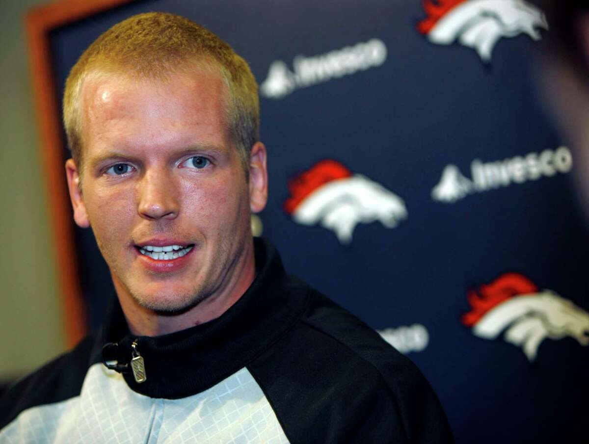 Denver Broncos quarterback Chris Simms talks during an interview about the team's recent trade of starting quarterback Jay Cutler to the Chicago Bears for quarterback Kyle Orton and draft picks, in Englewood, Colo., on Monday, April 6, 2009. (AP Photo/David Zalubowski)