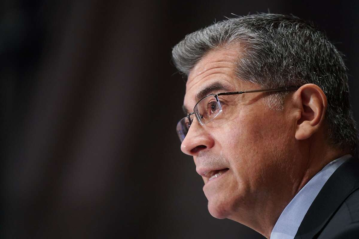 Health and Human Services Secretary Xavier Becerra at a Senate confirmation hearing on March 18. His department has blocked the Trump administration's last-minute orders that threatened federal health regulations on issues ranging from surgical care to labeling of food, medicines and vaccines.