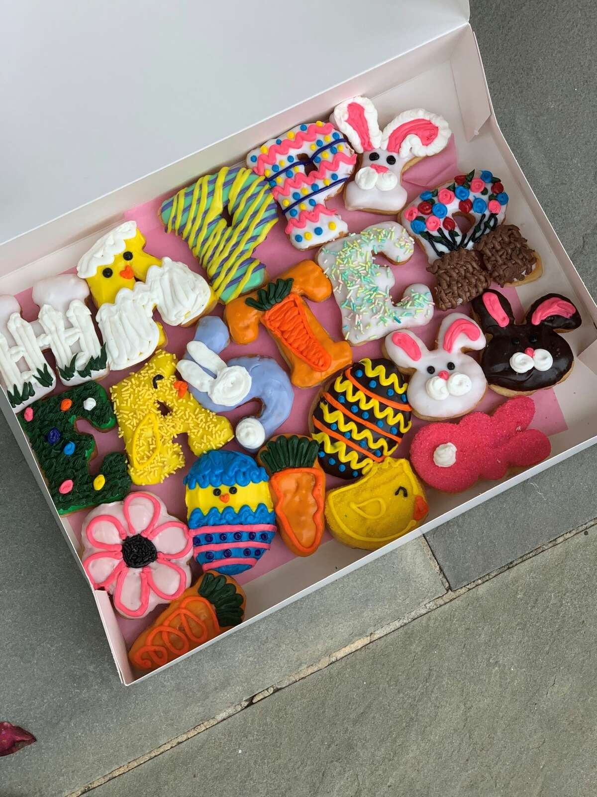 """River Oaks Donuts is offering alphabet donuts in a """"Happy Easter"""" message for the holiday."""