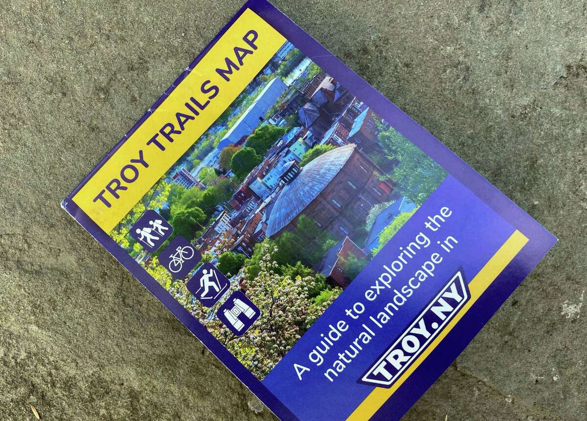 The new Troy Trails Map is a guide to exploring the city's natural landscape on Monday, March 29, 2021, in Troy, N.Y. Accessible transportation advocates have designed a new map, the Troy Trails Map, to bring attention to the wealth of natural resources and recreation infrastructure in and around the city. (Will Waldron/Times Union)