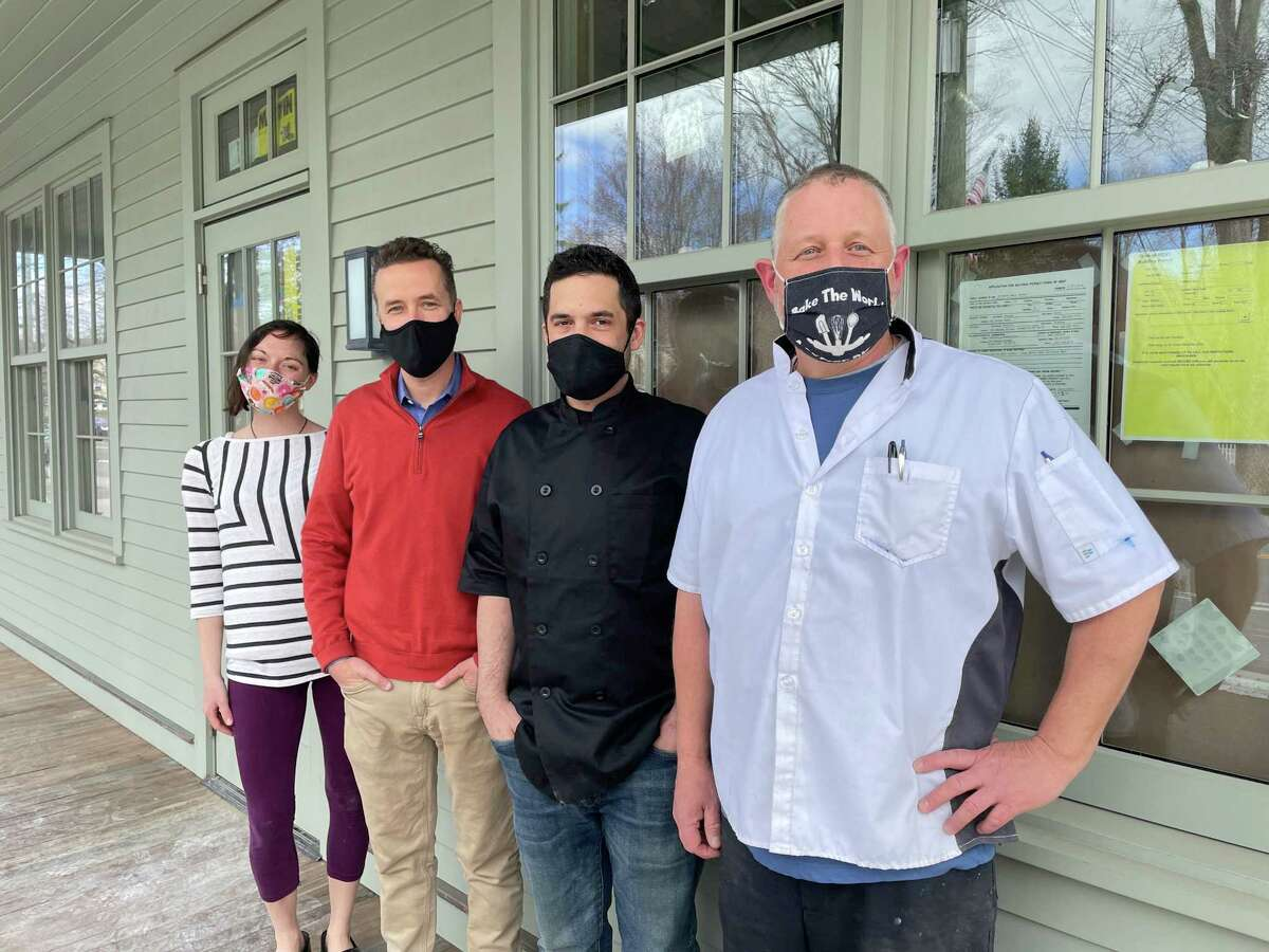 In front of the future home of Wilson's by High Watch, which is currently under construction at Kent Barns. From left, Laura Levine, pastry chef; Brendan Miller, vice president of operations at High Watch; Chris Lawrence, executive chef at High Watch; and Bruce Young, baker.