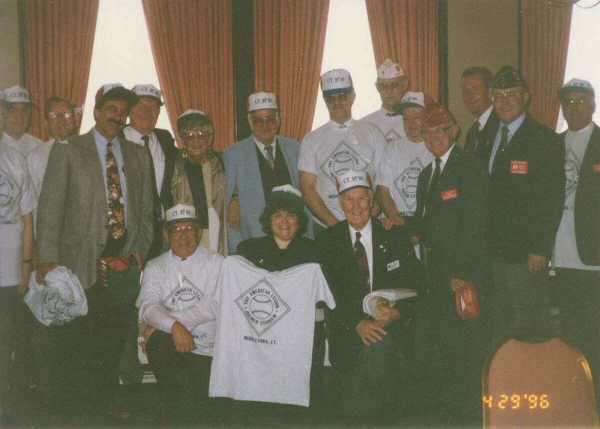 Maria Madsen Holzberg, front center, mayor of Middletown from 1997-99, is shown in Indiana with the members of the Middletown American Legion in 1996 when they successfully petitioned to bring the Legion world series to the city.