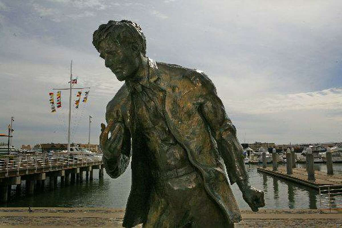 A sculpture of Jack London at the pier near Scott's Seafood restaurant in Oakland.