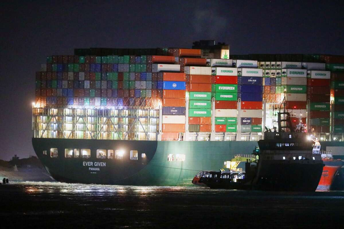 Rescue vessels work at the site of the stuck container ship Ever Given on the Suez Canal, Egypt, on March 27, 2021. Another vessel briefly got stuck on September 9.