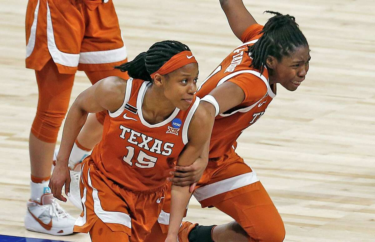 Guards Kyra Lambert (15) and Joanne Allen-Taylor have helped put Texas in the Elight Eight for just third time since the NCAA Tournament field expanded to 64 teams in 1994.