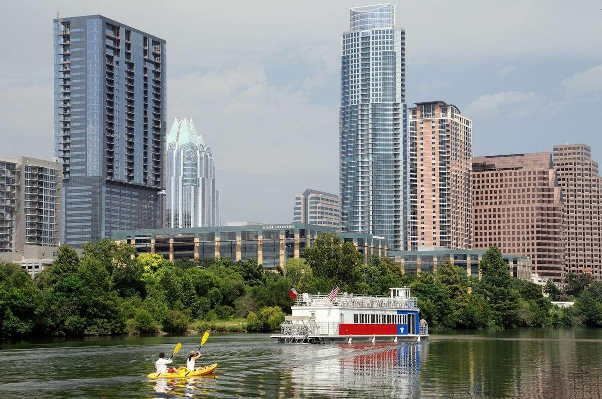 Kayakers in Lady Bird Lake in Austin, Texas.