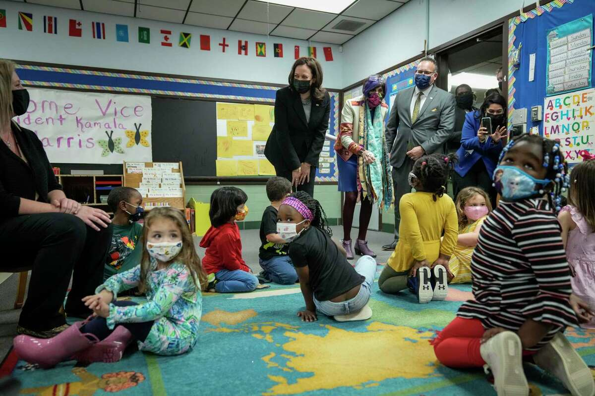U.S. Vice President Kamala Harris, Rep. Rosa DeLauro (D-CT), and Secretary of Education Miguel Cardona visit a classroom at West Haven Child Development Center on Friday in West Haven.