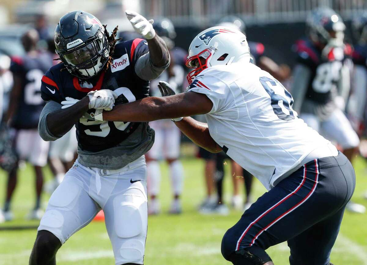When the Texans and Patriots scrimmaged in West Virginia in 2017, Houston got to see Marcus Cannon in action.