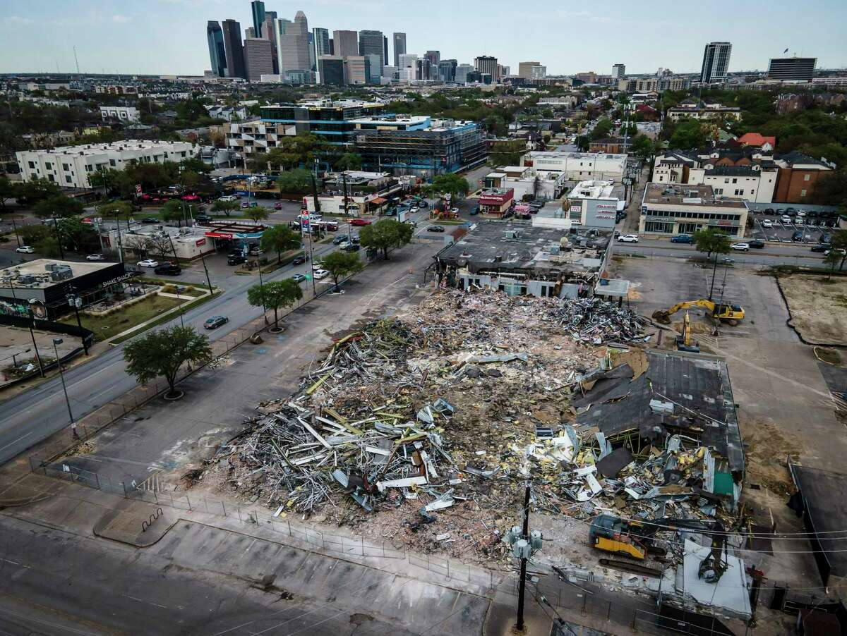 Demolition of the Montrose Half Price books continued on Monday, March 29, 2021, in Houston. Skanska USA Commercial Development purchased the nearly three-acre property that included Half Price and a Spec's along Westheimer Road at Montrose Boulevard.