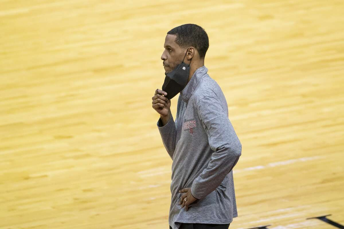 Houston Rockets head coach Stephen Silas reacts to a call during the fourth quarter of an NBA game between the Houston Rockets and the Memphis Grizzlies on Monday, March 29, 2021, at Toyota Center in Houston.