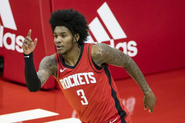 Houston Rockets guard Kevin Porter Jr. (3) celebrates after making a shot during the third quarter of an NBA game between the Houston Rockets and the Memphis Grizzlies on Monday, March 29, 2021, at Toyota Center in Houston. Photo: Mark Mulligan/Staff Photographer / © 2021 Mark Mulligan / Houston Chronicle