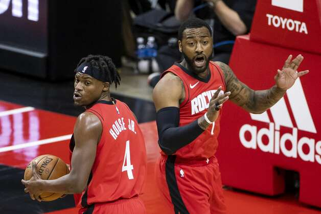 Houston Rockets guard John Wall (1) and Houston Rockets forward Danuel House Jr. (4) react to a call during the first quarter of an NBA game between the Houston Rockets and the Memphis Grizzlies on Monday, March 29, 2021, at Toyota Center in Houston. Photo: Mark Mulligan/Staff Photographer / © 2021 Mark Mulligan / Houston Chronicle