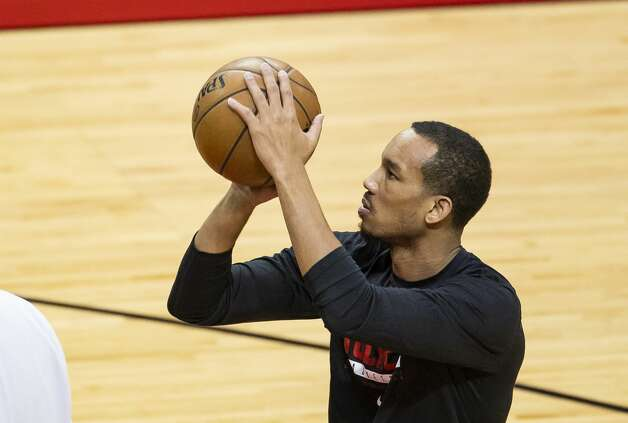 Houston Rockets guard Avery Bradley (11) warms up before an NBA game between the Houston Rockets and the Memphis Grizzlies on Monday, March 29, 2021, at Toyota Center in Houston. Photo: Mark Mulligan/Staff Photographer / © 2021 Mark Mulligan / Houston Chronicle