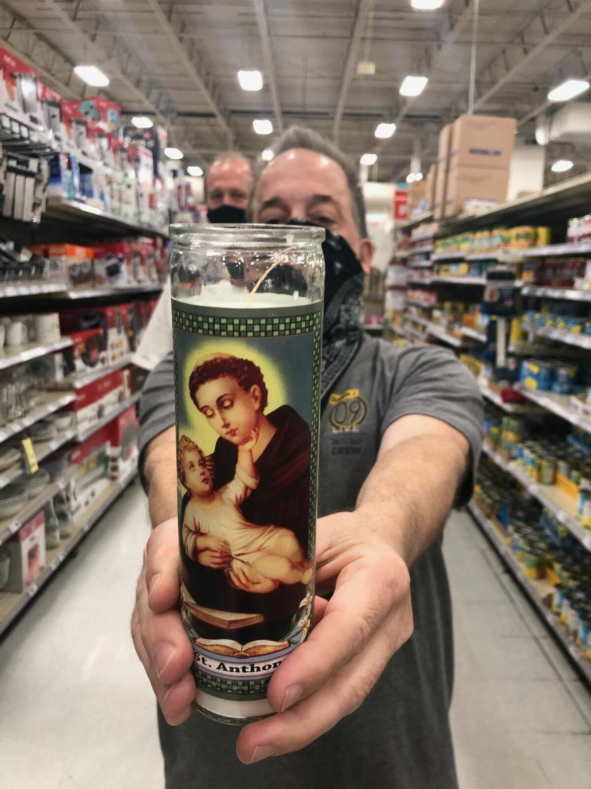 St. Anthony, the patron Saint of San Antonio, leading Don Lucas (front) and Paul Franklin (back) on their H-E-B pilgrimage.