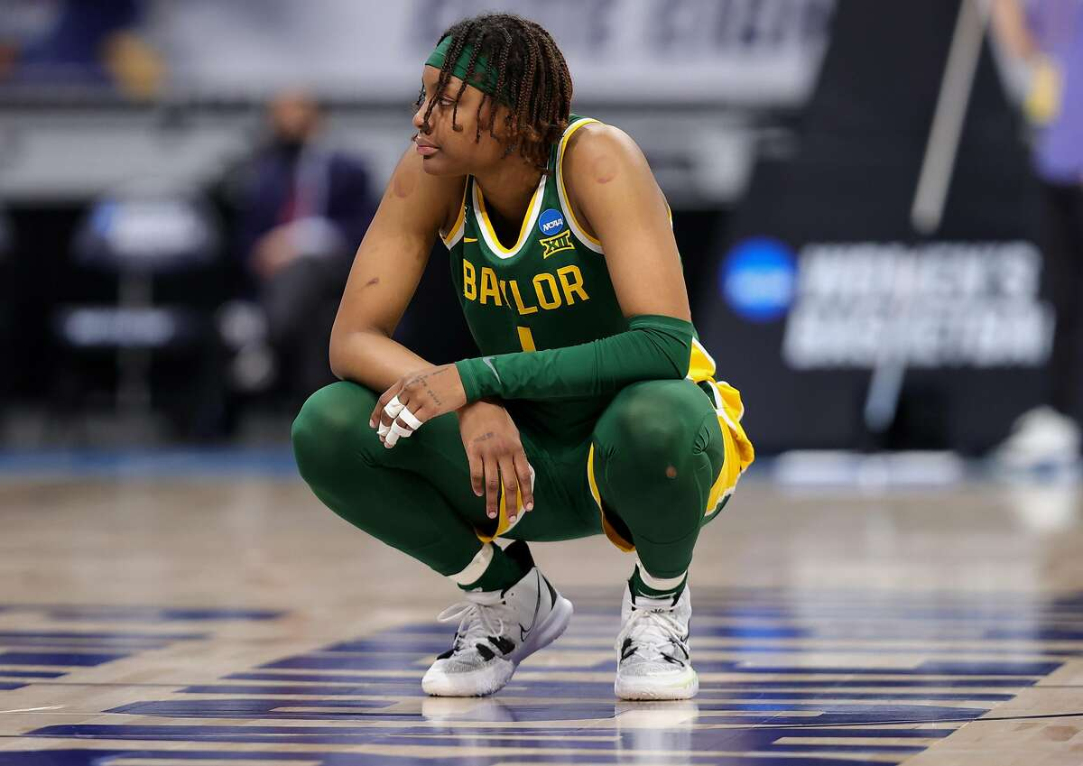 Baylor's NaLyssa Smith looks on in the second half of her team's loss to the UConn Huskies in the Elite Eight.