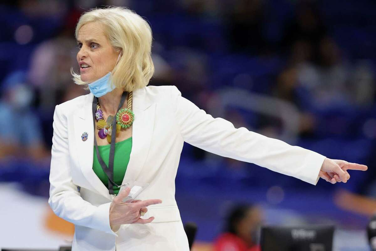 SAN ANTONIO, TEXAS - MARCH 29: Head coach Kim Mulkey of the Baylor Lady Bears reacts during the first half against the UConn Huskies in the Elite Eight round of the NCAA Women's Basketball Tournament at the Alamodome on March 29, 2021 in San Antonio, Texas.