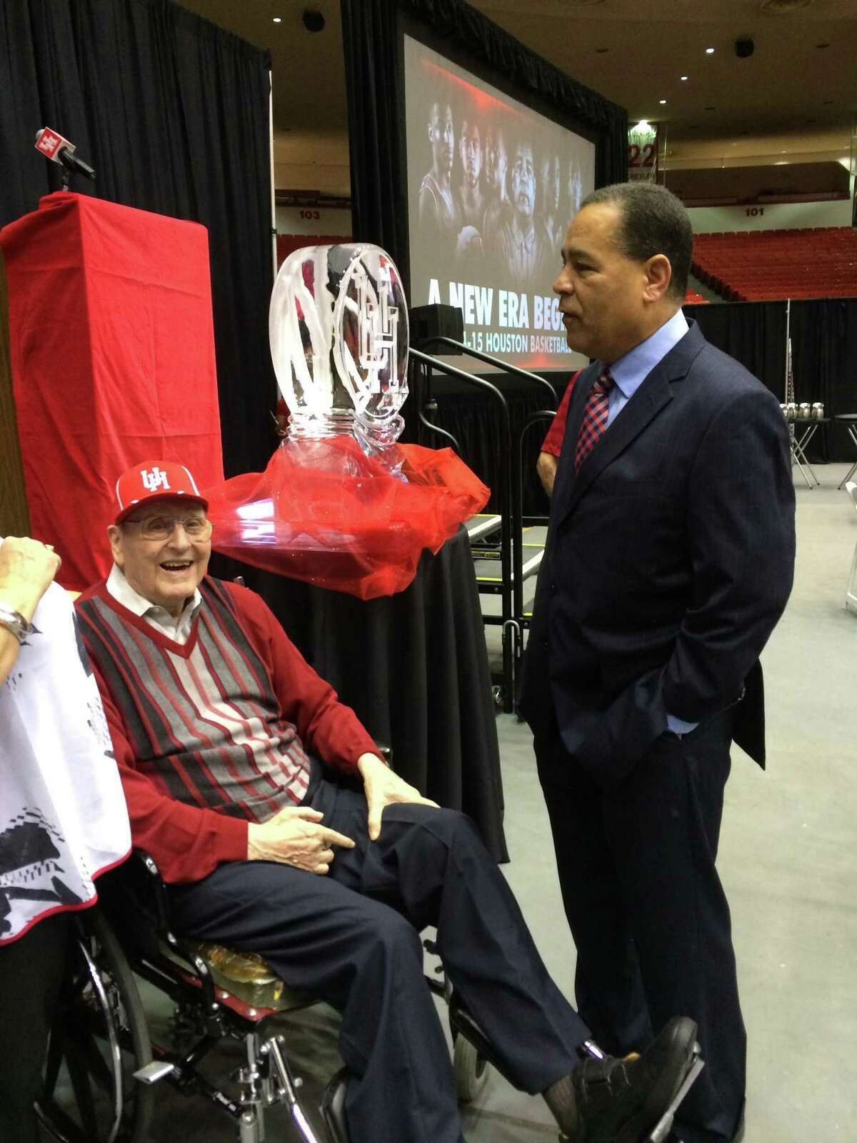 After being hired in 2014, Kelvin Sampson speaks with coach Guy V. Lewis.