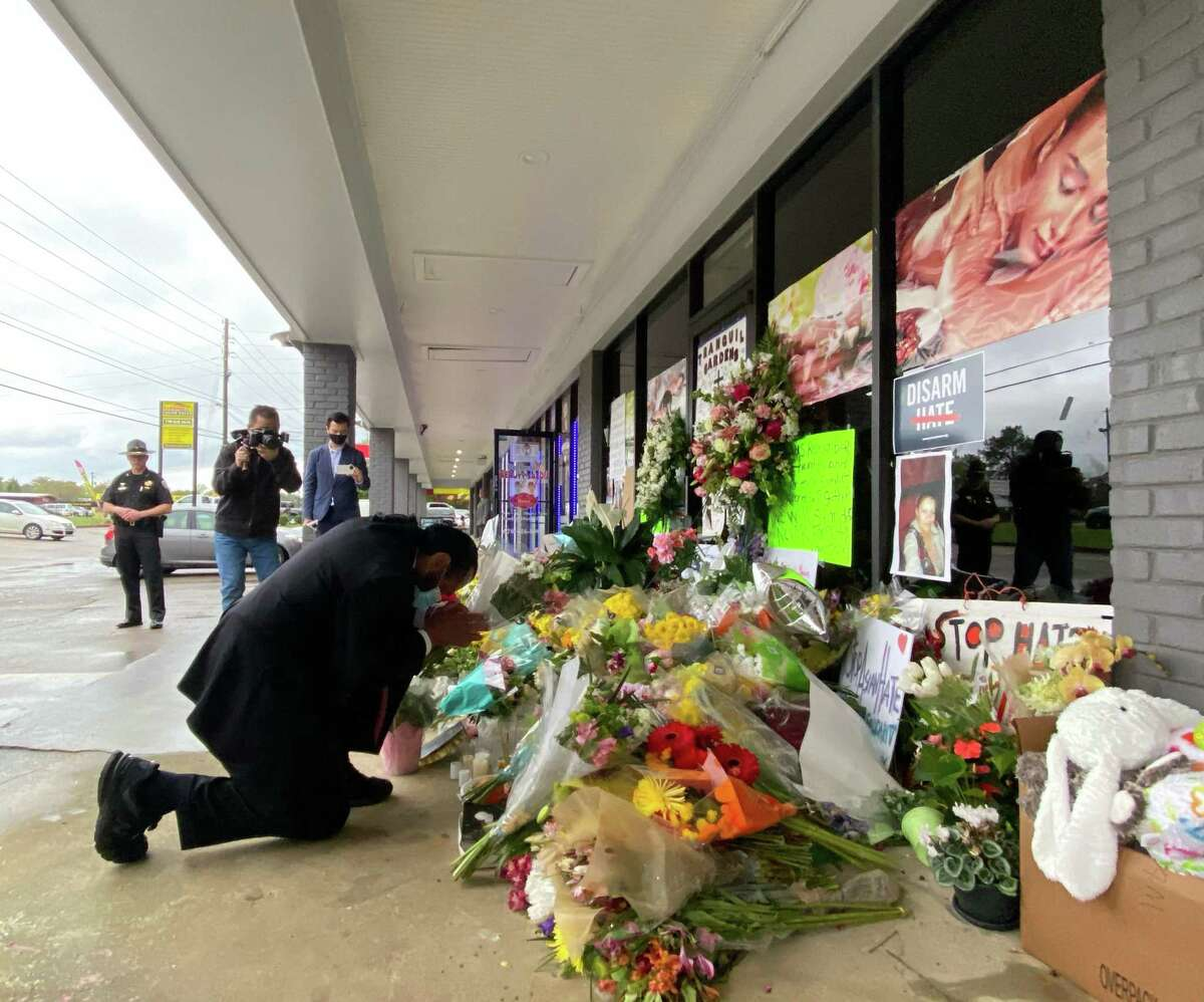 U.S. Rep Al Green pays his respects to the shooting victims in Atlanta, Ga. on March 28, 2021.
