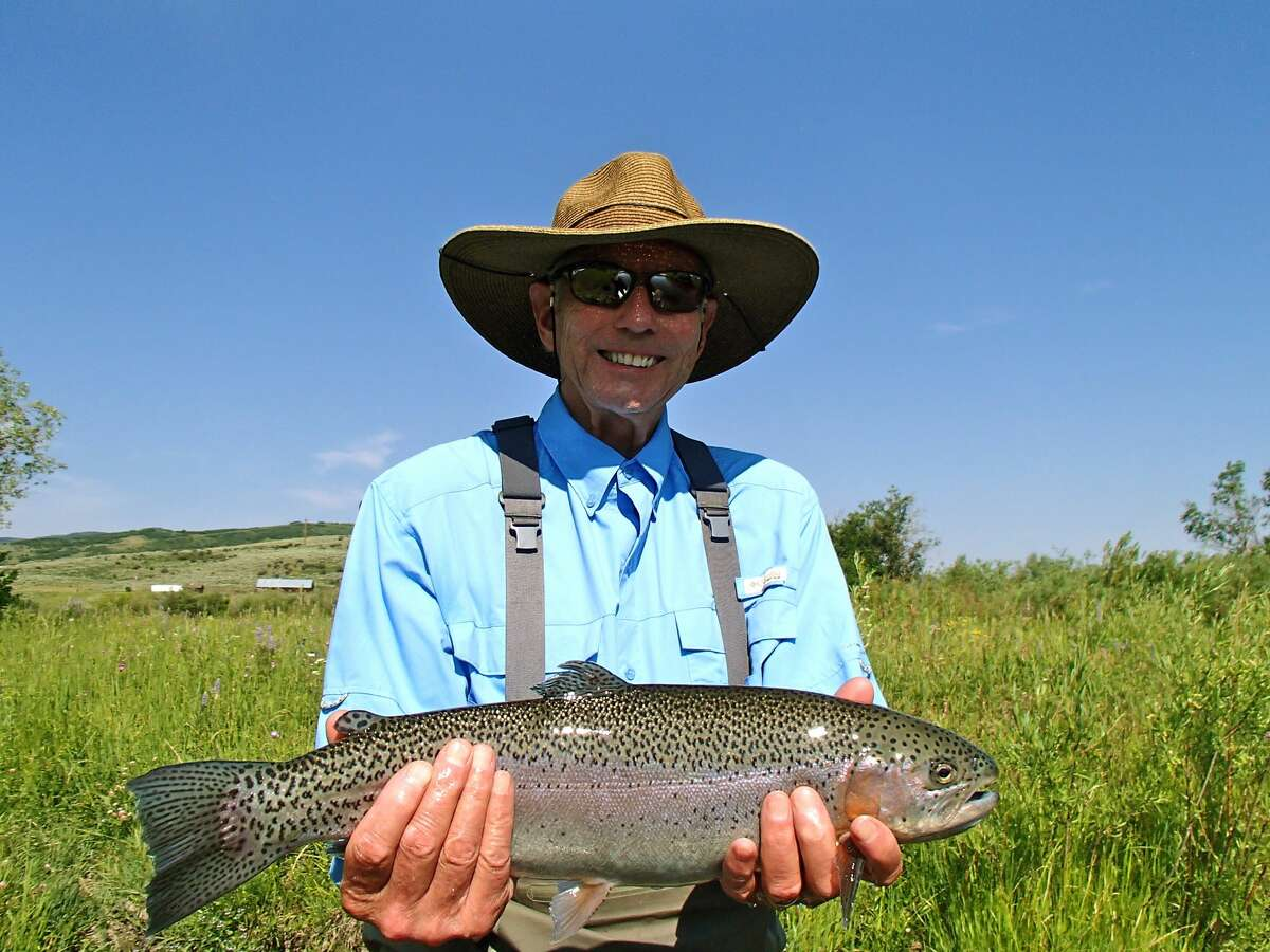 Will Green with first fly-caught rainbow trout, 22 in, 4.25 lbs., Yampa River, Colorado