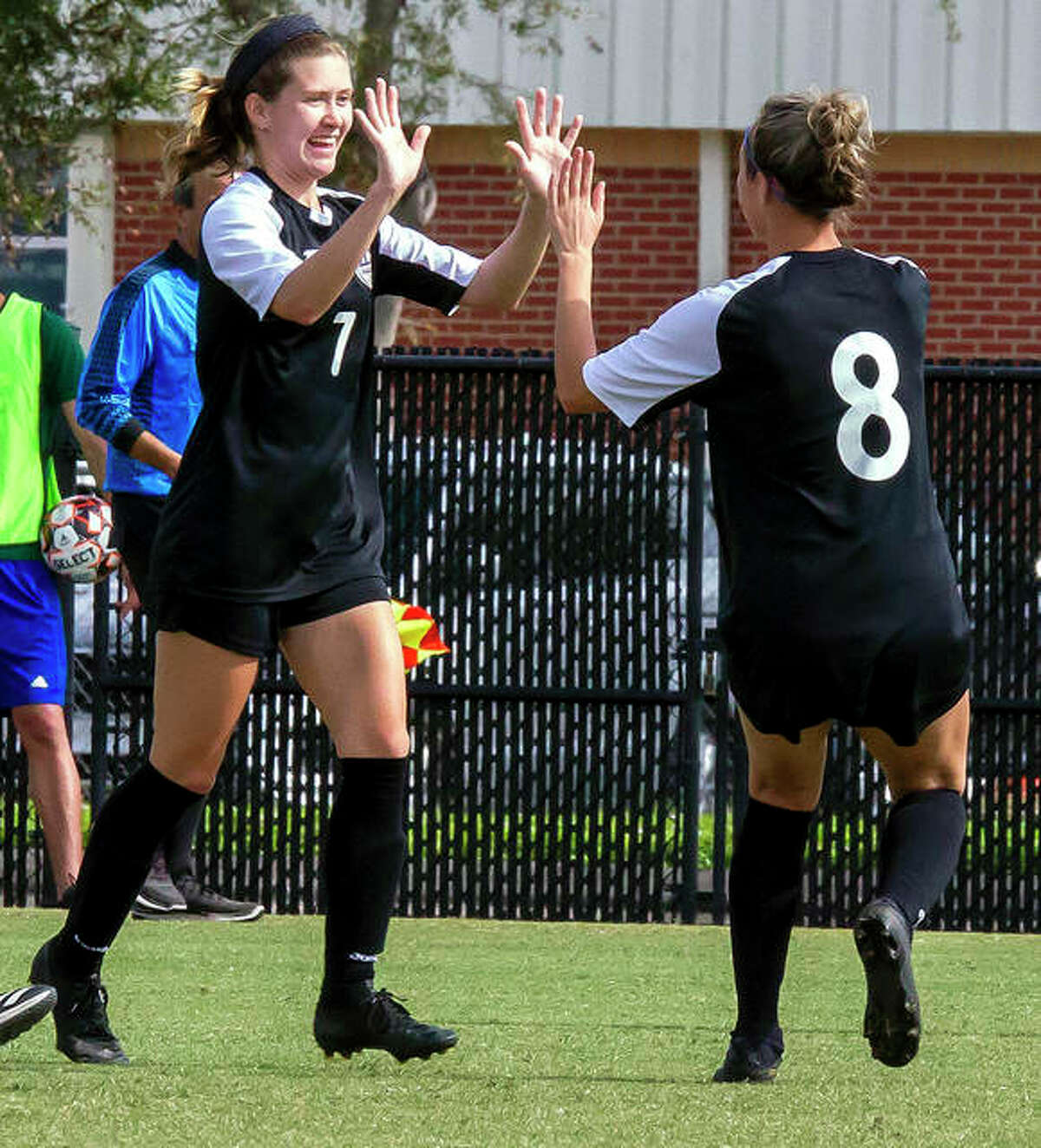 LCCC's Chelsea Riden (7) is congratulated by teammate Kara Crutchley (8) after Riden's second-half goal in the 2019 NJCAA national semifinal game in Melbourne, Fla. Riden and Crutchley return this season, which will begin Saturday at home against Triton College.