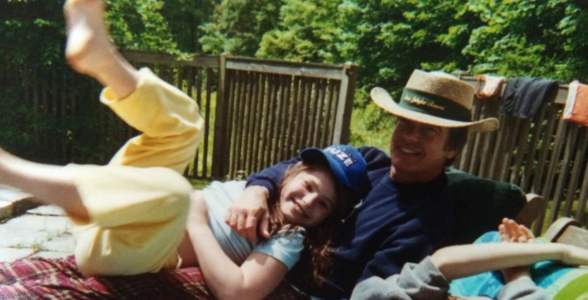 Kathryn Gallagher and her dad, actor Peter Gallagher, at their home in New Milford, Conn. when she was a child.