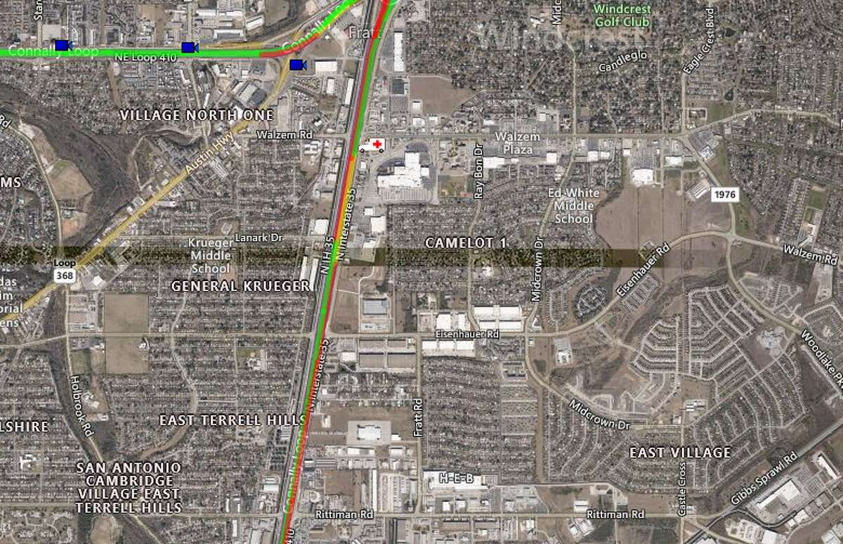 Texas DOT cameras were down but a traffic map shows how the closure is affecting traffic in the area.