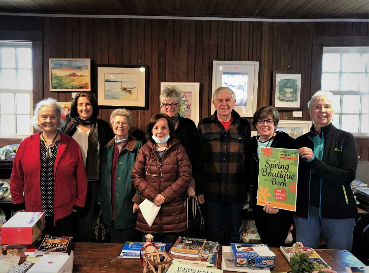 Featured artists of the Spring Boutique in the Barn at the Keeler Tavern Museum and History Center are, from left: Martha Talburt, Chris Lecher, Martha Levites, Janet Mannuccia, Fru Saily, Tim Guthrie, Marilyn Gordon, Tina Phillips. The event is open April 1-3, from 11 a.m. to 3 p.m.