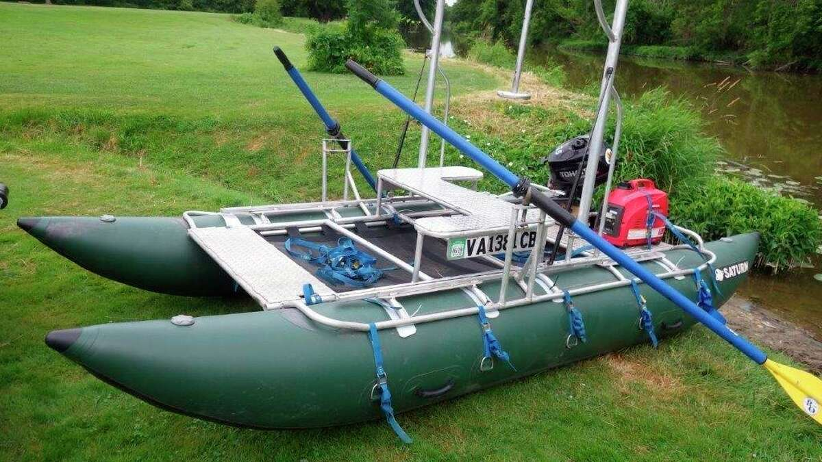 The custom-built Terrain 360 river raft is ready to launch on the Cass Riverat Evergreen Park in Sanilac County. (Tom Lounsbury/Hearst Michigan)