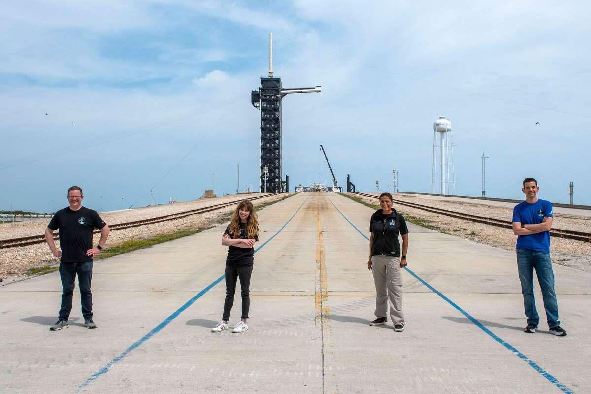 The Inspiration4 Crew is at Launchpad 39A at NASA's Kennedy Space Center in Florida. Pictured, from left, is Christopher Sembroski, Hayley Arceneaux, Sian Proctor and Jared Isaacman.