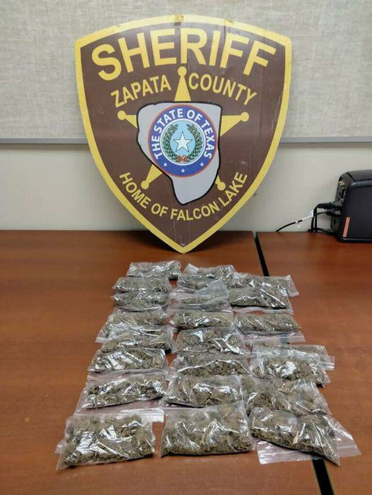 The Zapata County Sheriff's Office seized these marijuana packages. The contraband weighed about 1.6 pounds.