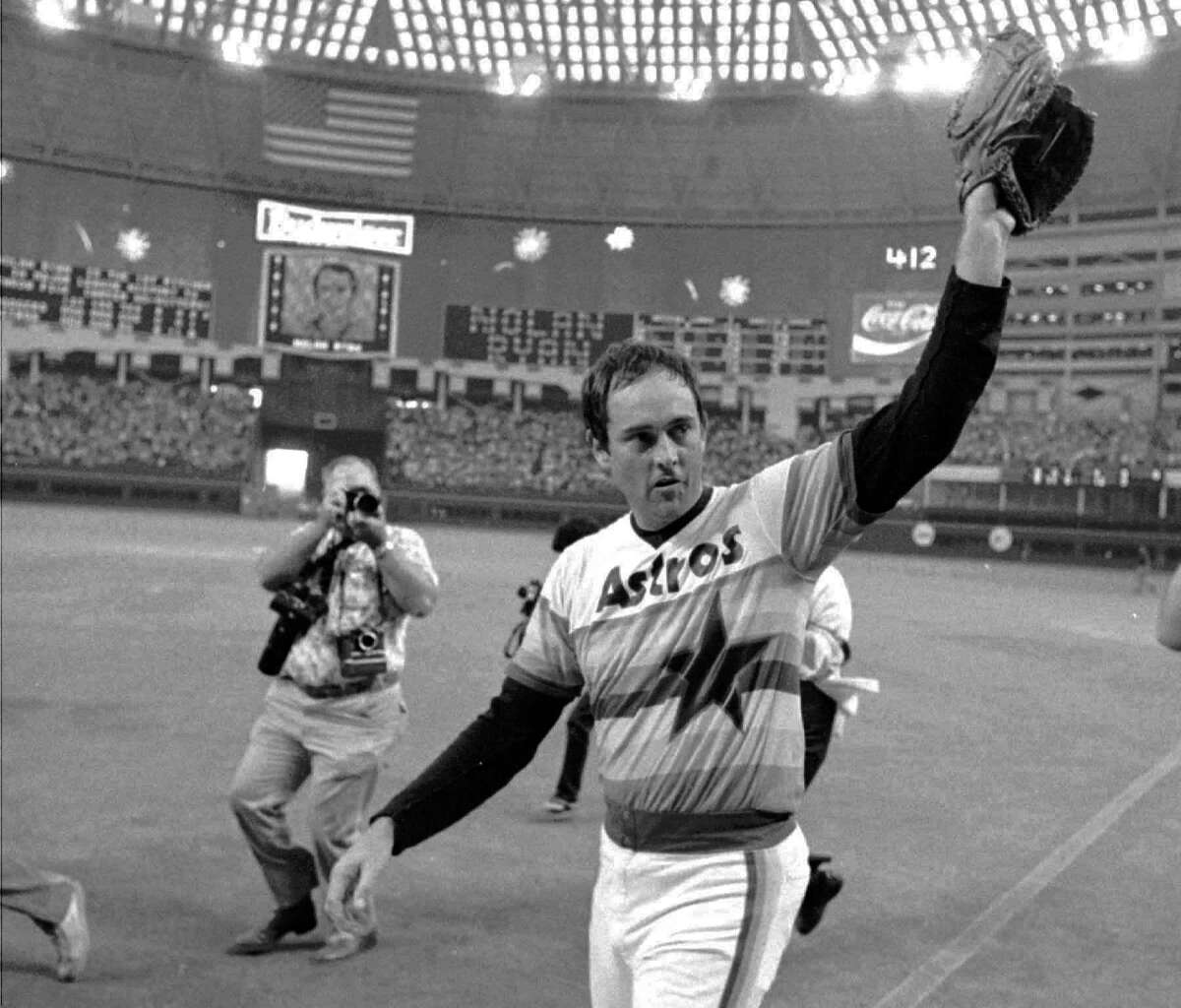 Ryan left a lasting mark on his hometown and the Houston area. As an Astro, he waves to the crowd after pitching his fifth career no-hitter in Houston in 1981.