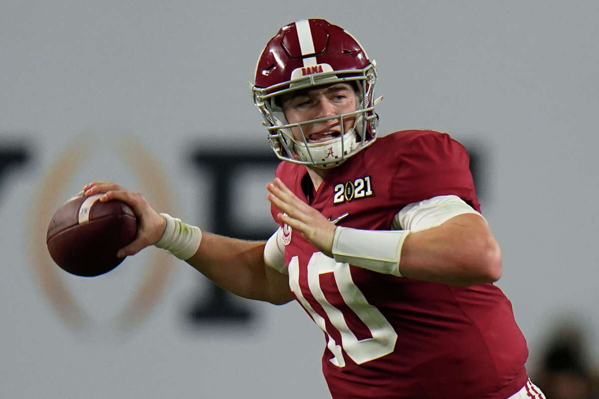 Alabama quarterback Mac Jones passes against Ohio State during the second half of an NCAA College Football Playoff national championship game in Miami Gardens, Fla., in this Monday, Jan. 11, 2021, file photo.
