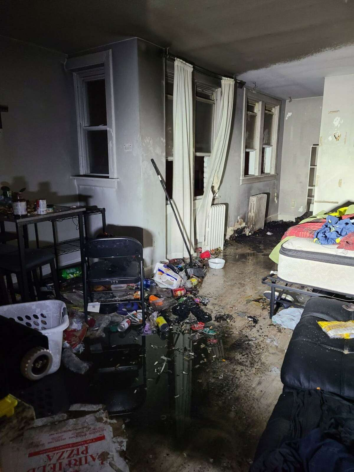 The aftermath of a fire in a Glenbrook Road condominium unit in Stamford, Conn., on Sunday, March 28, 2021.