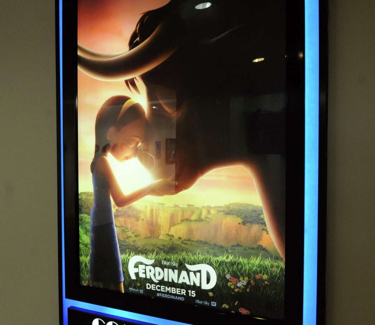 """A digital frame poster for the Oscar-nominated """"Ferdinand"""" in November 2017 at Blue Sky Studios in Greenwich, Conn."""