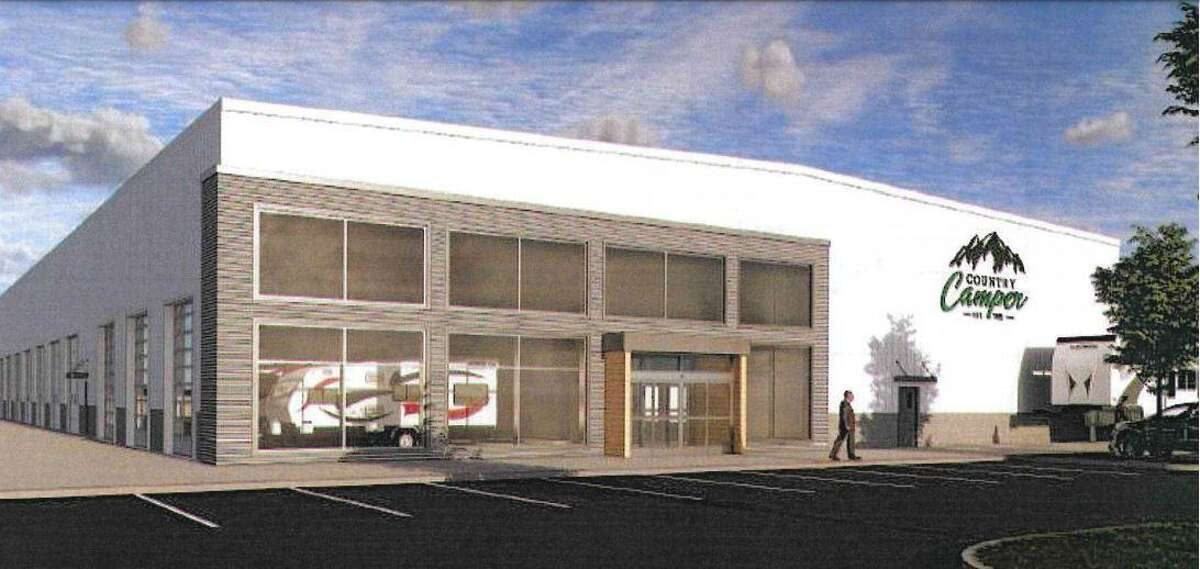 A rendering of the proposed Country Camper showroom and service center in Newtown.